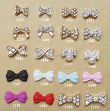 2015 fashionable bow tie 3D rhineston nail art decoration/beauty products wholesale