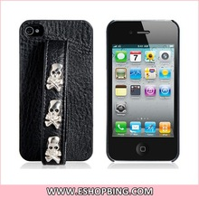 Faux Leather Riveted Skull Protective Case with Handle for iphone 4 4S Black