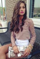 Women Vintage Kakhi Lace Sleeve Patchwork Chiffon Crochet Blouse Shirts Women Fashion Blusa Shirt plus size S-5XL
