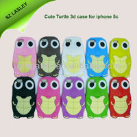 Mobile phone case Cute 3d turtle silicone animal case for iphone 5c 5s, for iphone 5c case silicone,for iphone 5c cover 3d