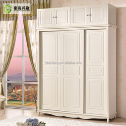 Ivory White Pastoral Style Wooden MDF Panel 3 Sliding Door Wardrobe Design Furniture Bedroom Closet