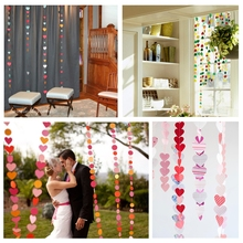 Love heart cardboard colorful garland decoration curtain wedding party decoration festival decoration 4M 6 color collections