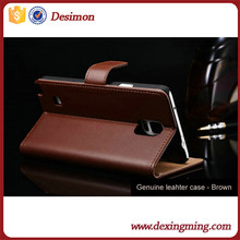 Desimon Real Genuine Leather Case For Samsung Galaxy S5 I9600 Book Style Phone Back Flip Cover Stand Design and Card Slot