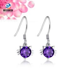 Silver fashion earring, Crystal pear earring, Gold earring