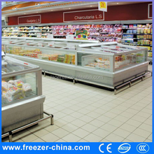 Supermarket top open island freezer commercial freezer and refrigerator freezer pvc strip curtain