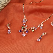[JS007]2015 HOT-SALE fashionable Crystal Jewelry Set for wedding/party/bride,Colorful spring zircon Earring+Necklace jewelry set