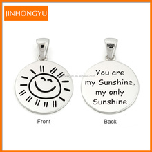 Personalized design sun shine 925 sterling silver letter disc charm