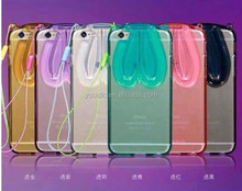 2015 New Transparent Tpu Case ,Rabbit Ear Stand Clear TPU Case For Apple Iphone 6 iphone 6 plus