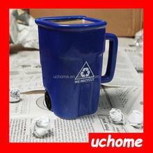 UCHOME New product for 2015 interesting bule ceramic Recycling Bin Coffee Mug