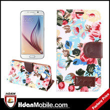 New product for Samsung Galaxy S6 Elegant Flower and Deluxe Book Style PU Leather Stand Card Holder Wallet Case Cover Skin