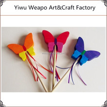 High Quality Wholesale Mixed Color Christmas Wooden Party Butterfly Wand