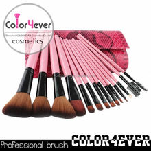 Wholesale New personalized beauty needs 15 pcs pink reptile makeup brush set brush series