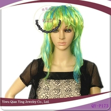 cheap wholesale long curly green synthetic party hair wigs