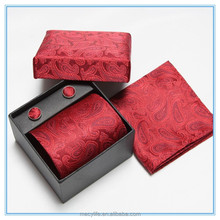 MECY LIFE 2015 wholesale high grade fashion design men red tie and cufflink sets with box