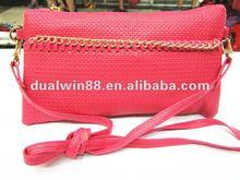 2012 girls pu chain two zippers handbag