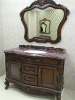 curved antique solid wood floor bathroom cabinet with marble countertop