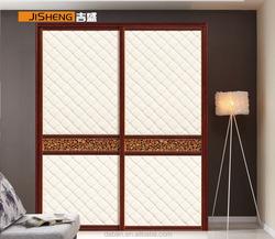 wood frame glass sliding door wardrobe cabient