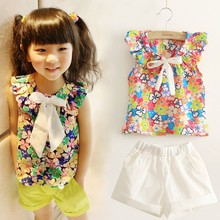 Kids Clothing Sets Cartoon Beautiful Girls Pattern With Bow & Colorful of love Children's Short-sleeved Suit