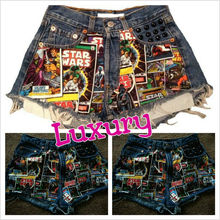 Luxury 5PCS/ Women Girls 2013 High Waist Star Wars Denim Shorts Free Shipping hot sale