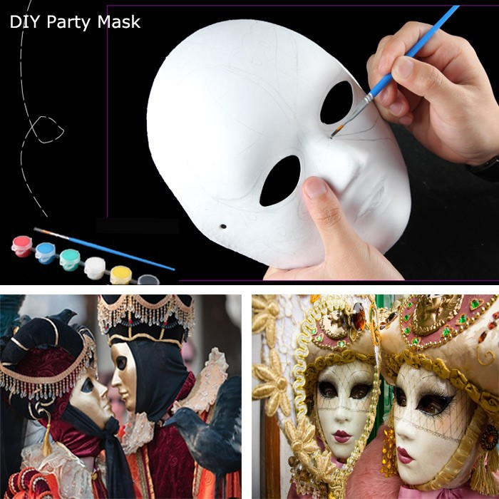 party supplies full face white paper craft mask to masquerade buy