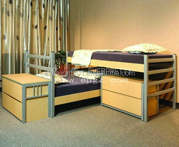 2015 High Quality Modern Bedroom Sets With Iron Frame Steel Bed Wood Box Doub