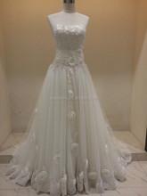 WD058 Lovely Real Picture A-line Strapless Handmade Flower Lace Wedding Dress With Sash