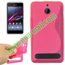 Fashionable S Line Pattern TPU flip cover case for sony xperia e1
