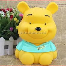 cute bear shaped plastic coin money saving box,cartoon bear pvc piggy bank,custon made pvc piggy bank