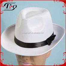 costume hat satin gangster white fedora hat
