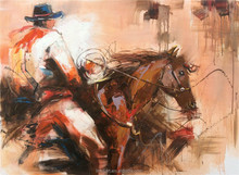 Western Cowboy on Horse Back USA Style Handmade Oil Painting on Canvas for Wall Art Decoration