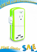 Cheapest Portable Travel Outlet -Grounded Surge Protection -Two AC Outlet and Two USB Ports. Wrap Around Power Cord (Green)