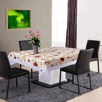 Printed Popular designs Waterproof Pvc Tablecloth with lace border
