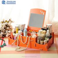 Professional wood organizer makeup storage box with mirror