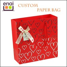 Advanced Customized China Red paper gift bag with plastic lining for package