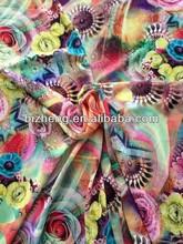 100% polyest de seda arrugada 100d de diseño floral impreso de tela de gasa para la ropa