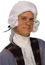 Adult Colonial Historical Presidential White Curly Costume Wig
