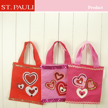 manufactured by Shantou St. Pauli Garment & Craft factory red and pink and red and rose valentine's suprise felt tote bag