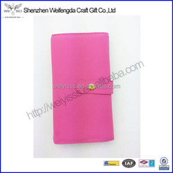 High Quality Popular Pink Fashion Leather Travel Jewelry Wallet
