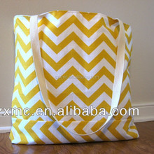 Yellow Chevron Pattern Customized Print Cotton Tote Bag with Standard Size