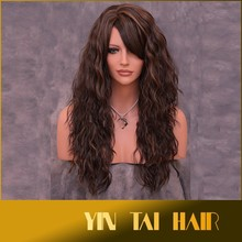 100% Kanekalon Heat Resistant Wig Fashion Long Curly Dark Brown Synthetic Natural Hair Wigs Girls Water Weave Brown for Party