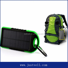 Sports Solar power bank 5000 mAh waterproof solar power bank ,dual usb portable solar panel power bank