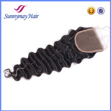 Brazilian Virgin Hair Natural Color Deep wave Human Hair Lace Closure Pieces