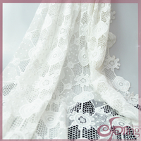 Floral geometric white embroidery fabric lace, chemical lace guipure lace fabric for wedding dress
