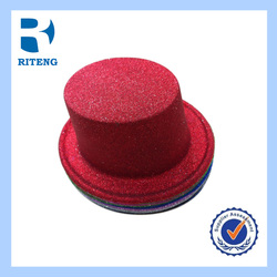Red wool felt high top magic hat with good lining stage hat