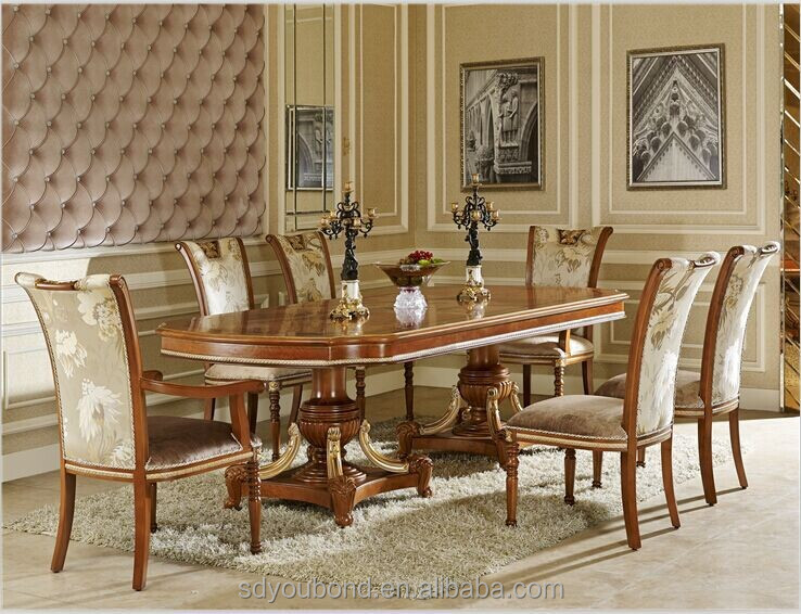 0062 Italian Classic Dining Room Sets,Luxury Golden Wood Table And Chair  Furniture - Buy Classic Dining Room Sets,Table And Chair,Classic Wood Table  ...