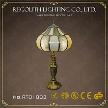 Made in China glass table lamp/desk lamp with black silk lamp shade and metal base home decor UL CE RoHS