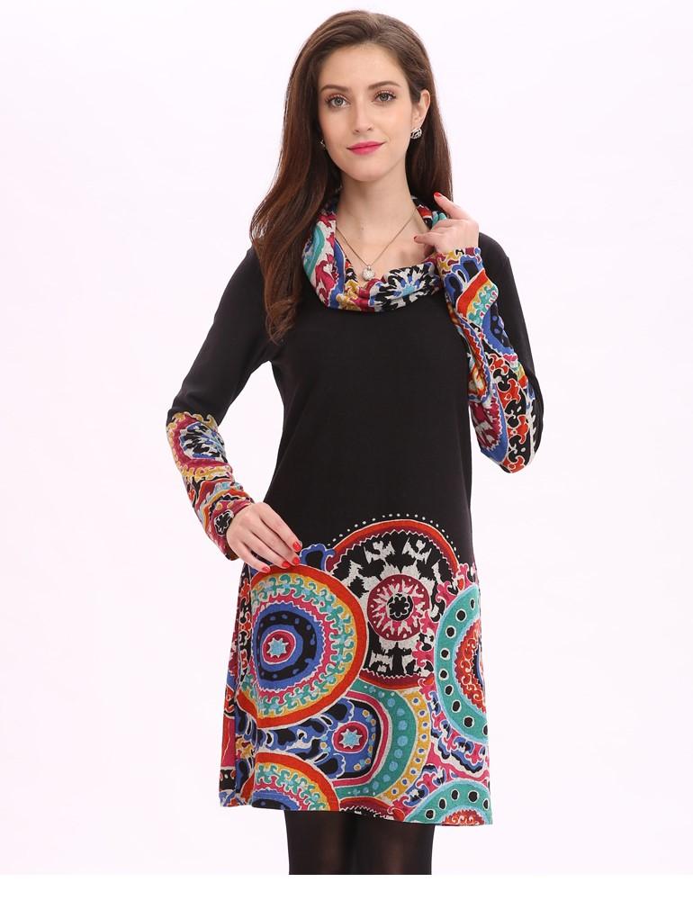 Personalizado Malha Escovado Pano Mulher Étnica Colorido Impresso Mulher Ocasional Vestidos de Alta Pescoço