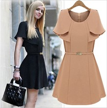 Wholesale European Fashion Style Stock Clothing 2014 Summer Women's Lotus Leaf Short Sleeve Chiffon Career Dresses To The Knee