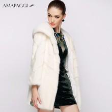 Warm Winter Long Women White Natural Mink Fur Coat For Lady