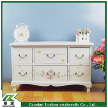 White Wooden Living Room Furniture with 6 Drawers